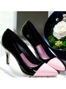 Elegant Contrast Color Point-Toe Low Heels