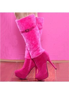 Elegant Fur Stiletto Heels Knee High Boots