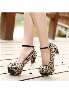 Elegant Leopard Ankle Strap Peep-Toe Heels