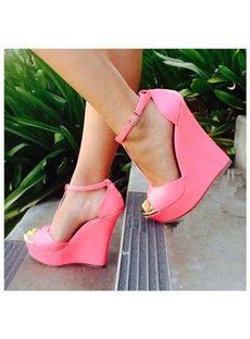 Elegant Pink Ankle Strap Peep-toe Wedge Heels