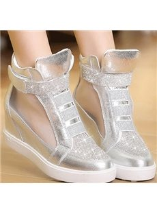 Elegant Rhinestone Mesh Sneakers With Inside Heel