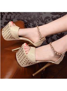 Elegant Rhinestone Metal Chain Platform Sandals