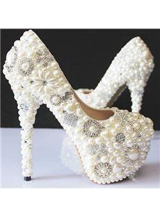 Elegant Rhinestone Pearls High Heel Wedding Shoes