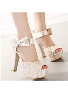 Elegant Solid Color Bowknot Chunky Heel Dress Sandals
