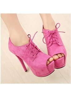 Elegant Suede Lace-Up Peep-Toe Ankle Boots