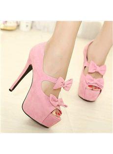 Elegant Sweet Peep-toe Platform Stiletto Heels with Double Bowtie