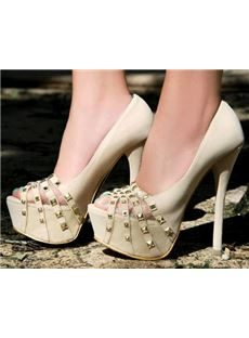 Elegant White Coppy Leather Platform High Heel Shoes with Rivets Decoration