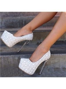 Elegant White Coppy Leather Thic Platform High Heel Shoes