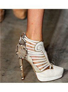 Elegant White Leather Platform Sandals