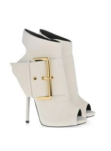 Elegant White Peep-toe Stiletto Heels Ankle Boots with Buckle
