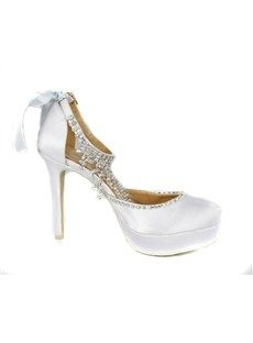 Elegant White Platform Satin Stiletto Heels Closed-toe Prom/Evening Shoes