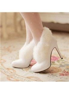 Elegant White Warm Fur Ankle Boots