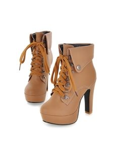 Eurameriacn Style Apricot Closed Toe Lace-up Chunky Heel Boots