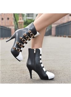 Euramerican Contrast Color Buckle Cow Leather Ankle  Boots