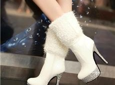 Euramerican Fashionable Patent Leather Glitter High Heel Boots