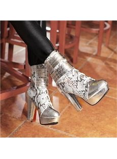 Euramerican Style Lace-Up Platform Heels Boots