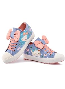 Excellent Bowknot Hand-Printed Lace-Up Canvas Shoes