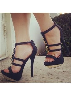 Excellent Paillette Ankle Strap PU Platform Sandals