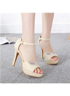 Exquisite Cut-Outs Rhinestone Platform Stiletto Sandals