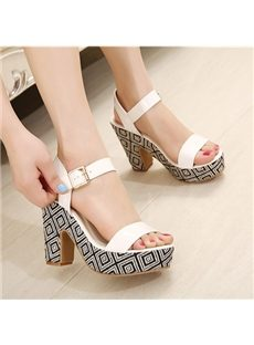 Extraordinary Contrast Color Chunky Heels Sandals