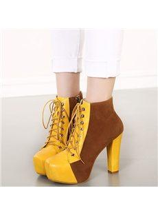 Fabulous Contrast Color Lace-Up Ankle Boots
