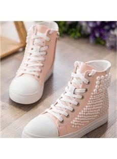 Fabulous Pearl Decoration Lace-up Canvas Shoes