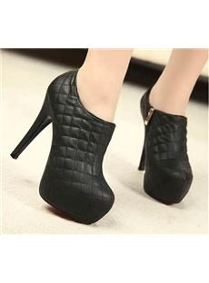 Fahionable Chequer Platform Stiletto Heels Ankle Boots
