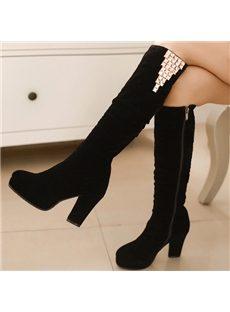 Fancy Black Chunky Heel Knee High Boots