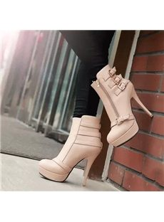 Fancy Buckles Zipper Ankle Boots