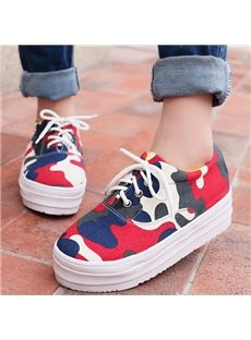 Fancy Camouflage Lace-Up Canvas Shoes