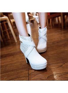 Fancy Cross Belt Chunky Heel Ankle Boots