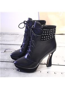 Fancy Diamond-Decorated  Lace-Up Ankle Boots