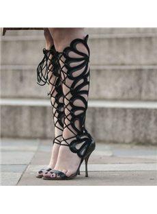 Fancy Flower-Shaped Cut-Outs Dress Sandals