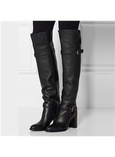 ?Fancy Genuine Leather Knee High Boots