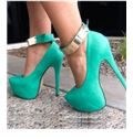 Fancy Green Coppy Leather Ankle Strap Platform Heels
