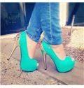 Fancy Green Peep Toe Platform High Heel Shoes