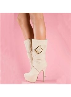 Fancy Metal Buckle Mid-Calf High Heels Boots