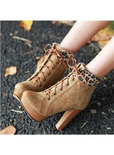 Fancy Platform Chunky Heels Ankle Boots with Leopard