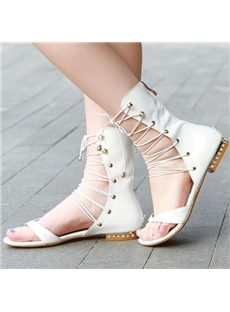 Fancy Rhinestone Lace-Up Flat Sandals