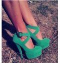 Fancy Suede Ankle Strap Platform Heels