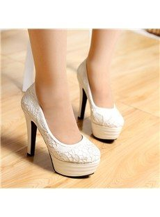 Fancy White Stiletto Platform Heels with Lace