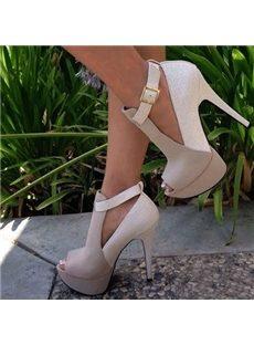 Fantastic Contrast Color Ankle Strap Peep-Toe Heels