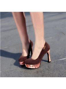 Fantastic Contrast Color  Stiletto Round-Toe Platform Heels