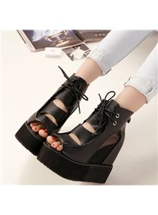 Fantastic Cut-Outs Lace-Up Wedge Sandals