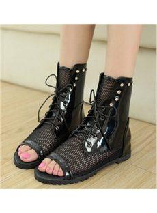Fantastic Cut-Outs Mesh Peep-toe Flat Sandals