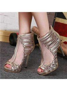 Fantastic Paillette Decoration Mesh Low Heels