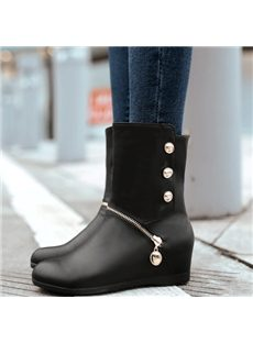 Fantastic Wedge Heels Boots with Zipper