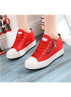 Fascinating Lace-Up Zipper Canvas Shoes