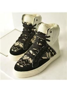 Fashion Cow Leather Contrast Color Lace-Up Comfortable Shoes