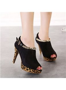 Fashion Leopard Grain Metal Chain Ankle Boots